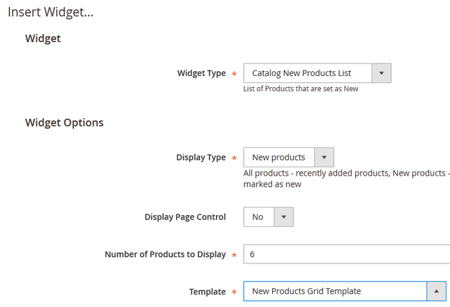 Configuring the Widget to show Products