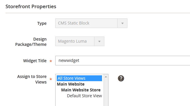 Setting Widget Title and Store Viewin Magento 2