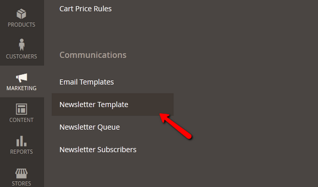 Navigating to the Newsletter Template section in Magento 2