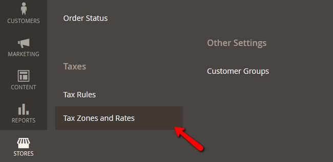 Accessing the Tax Rates menu in Magento 2