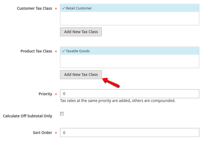 Tax Rule configuration options