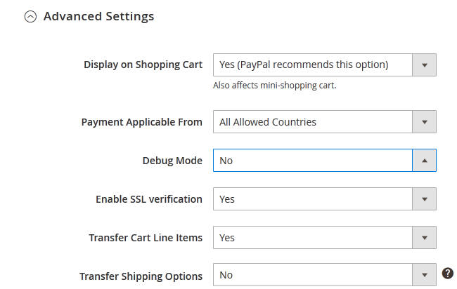 PayPal Express Checkout Advanced Settings