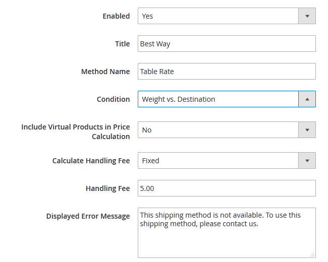 Enabling a Table Rate Shipping Method in Magento