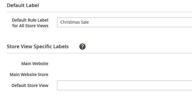 Setting the Labels for the Promotion in Magento 2