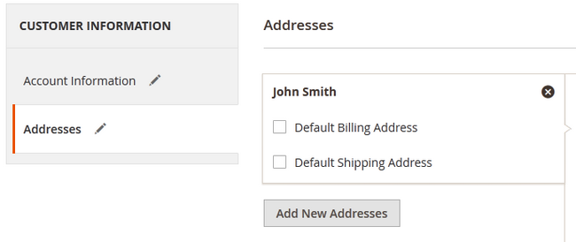 Adding a Billing and Shipping Address for a Customer