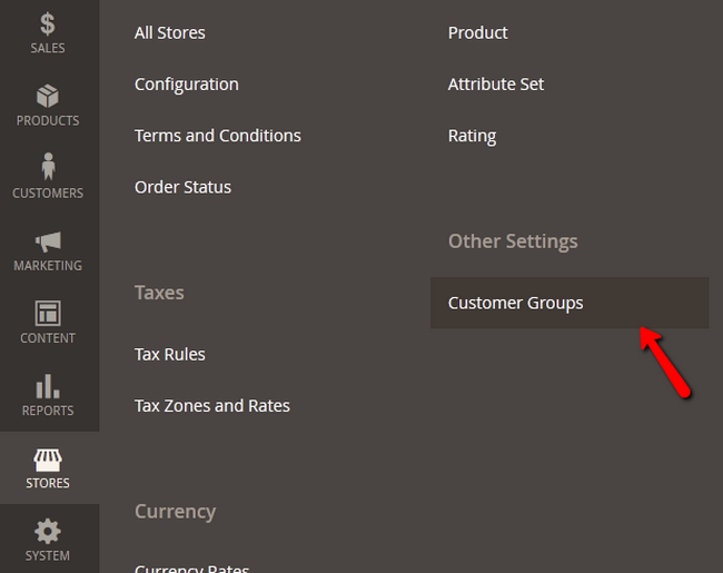 Accessing the Customer Groups section in Magento 2