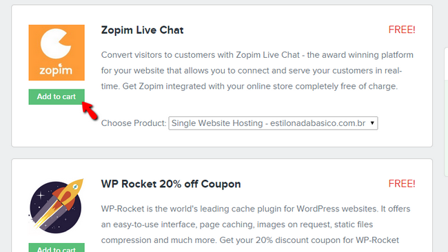 Adding the Zopim Live Chat addon to your cart for free