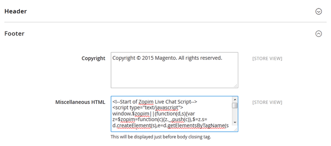 Pasting the Zopim Script in Magento 2 Footer