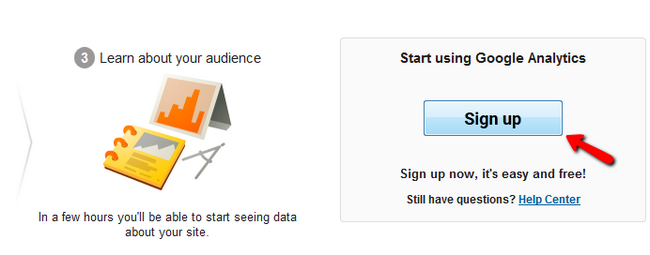 Sign up with Google Analytics