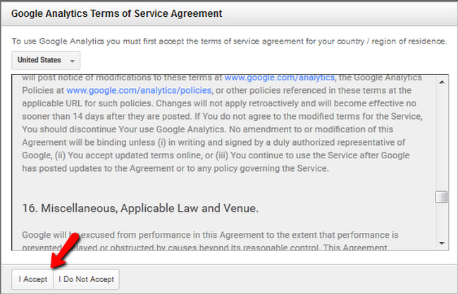 Accepting the Google Analytics Terms of Service