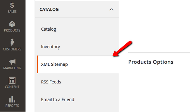 Accessing the XML Sitemap Configuration page