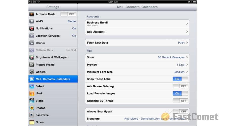 setup email on ipad