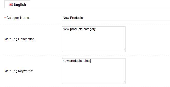 OpenCart category settings