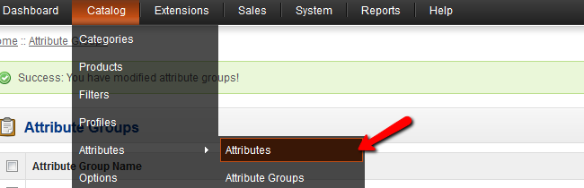OpenCart Attributes menu