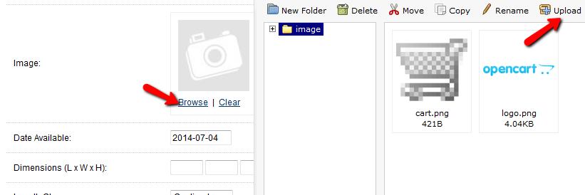OpenCart Product Upload Image