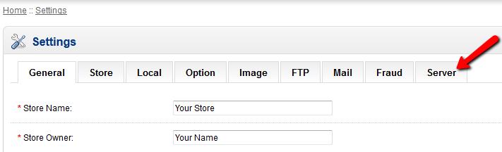 opencart store settings
