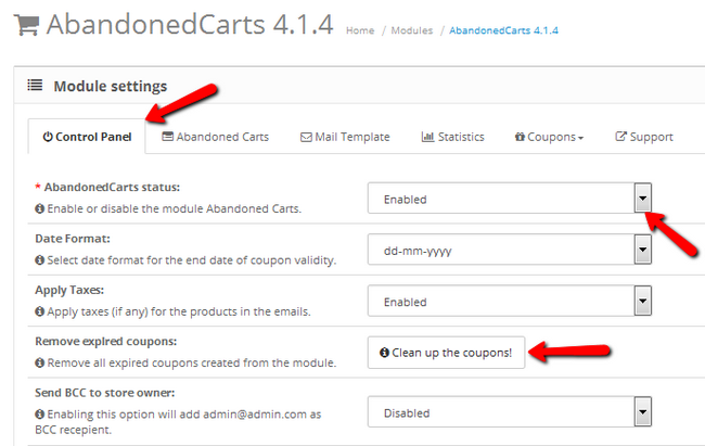 Accessing and Enabling AbandonedCarts