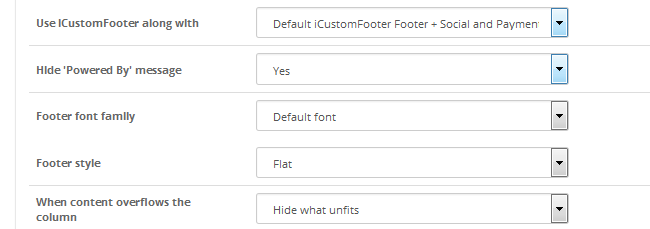 Configuring the footer style and font