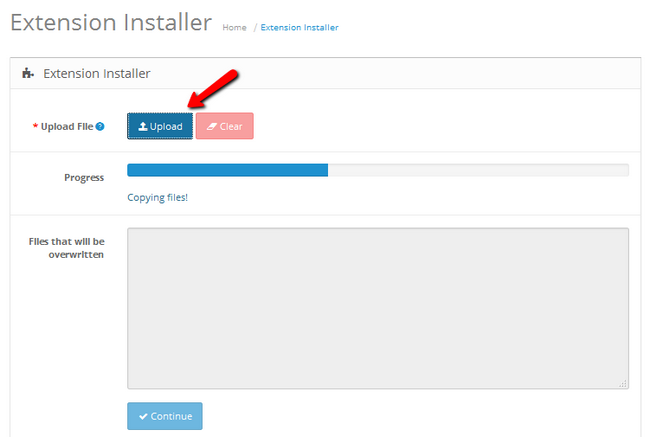 Uploading an extension in OpenCart 2