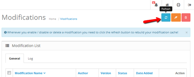 Refreshing the Modification cache in OpenCart 2