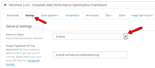 Enabling NitroPack and configuring Google PageSpeed analytics