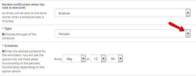 Configure the Schedule type and frequency for notifications in OpenCart 2