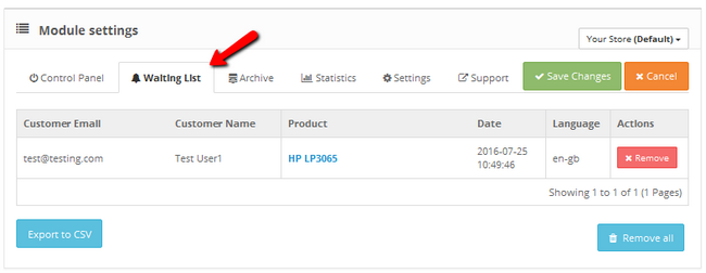 Example of a user waiting for a product to get in-stock