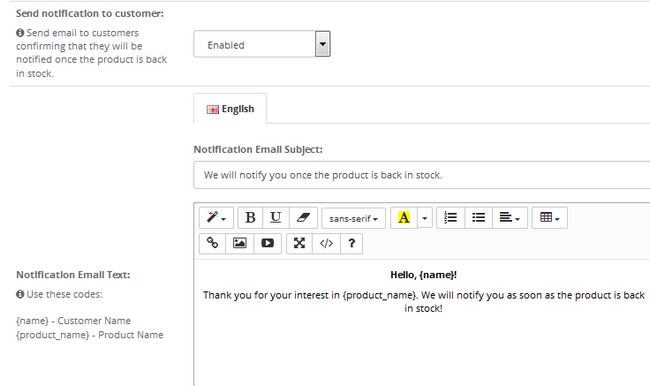 Setting up the email template for confirming a notification alert in the future