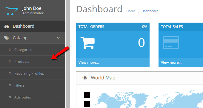 Manage products in OpenCart 2