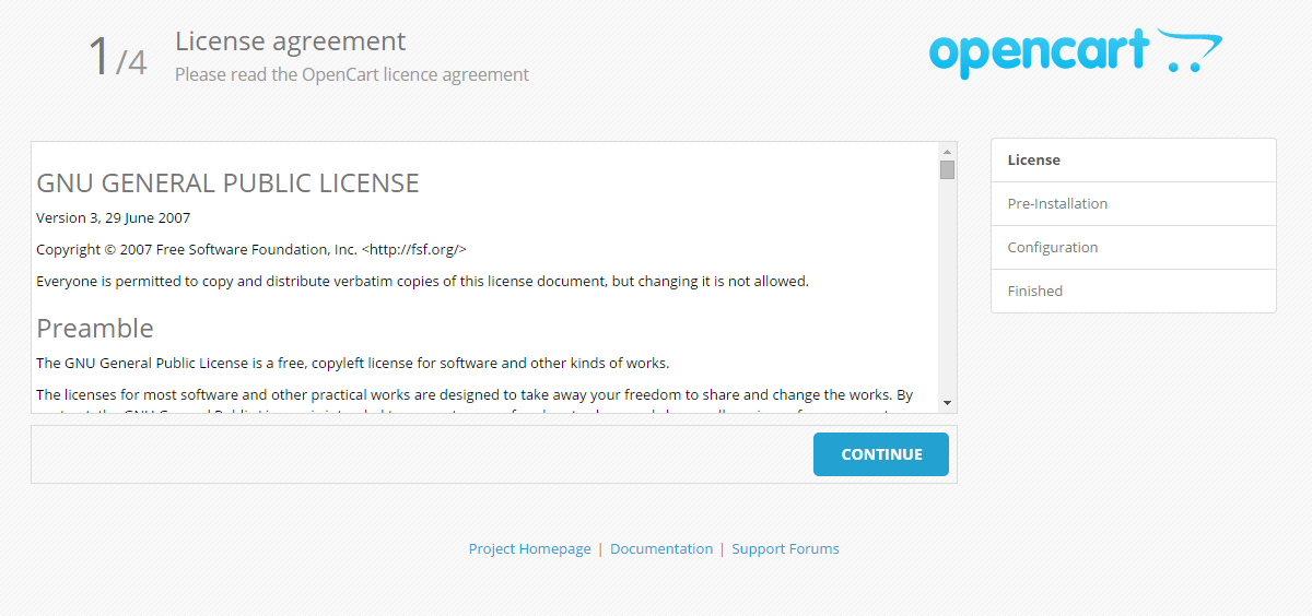 OpenCart License Agreement during Installation