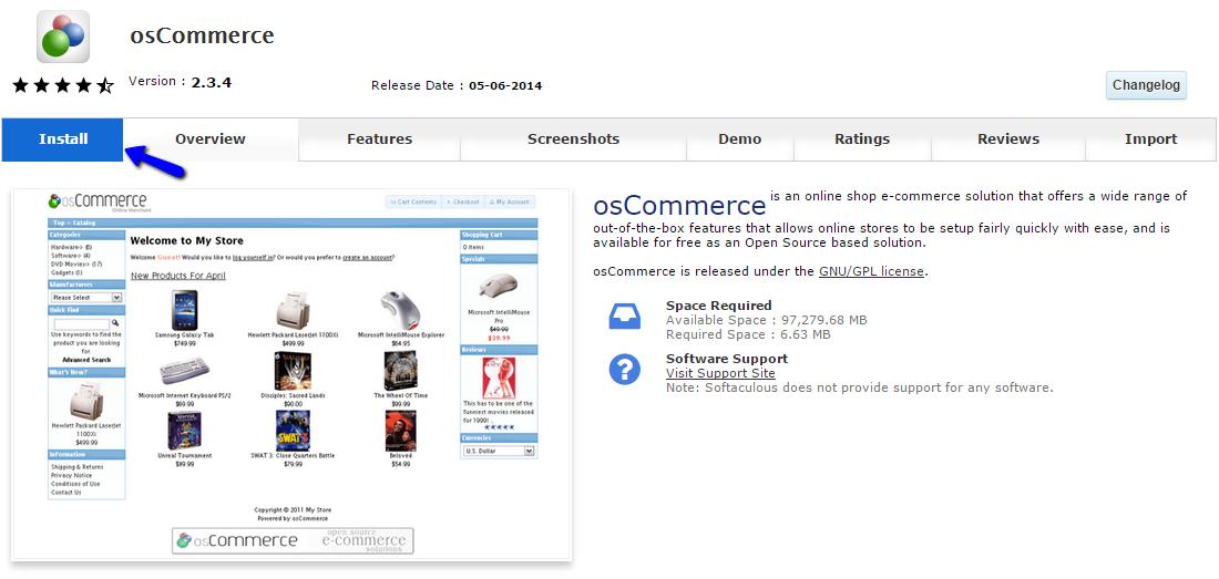 Initiate osCommerce Installation