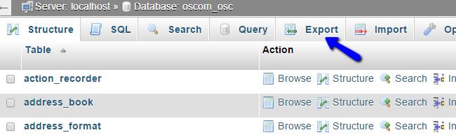 Export osCommerce Database in phpMyAdmin