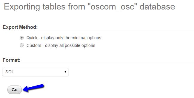 Download osCommerce Database Backup via phpMyAdmin