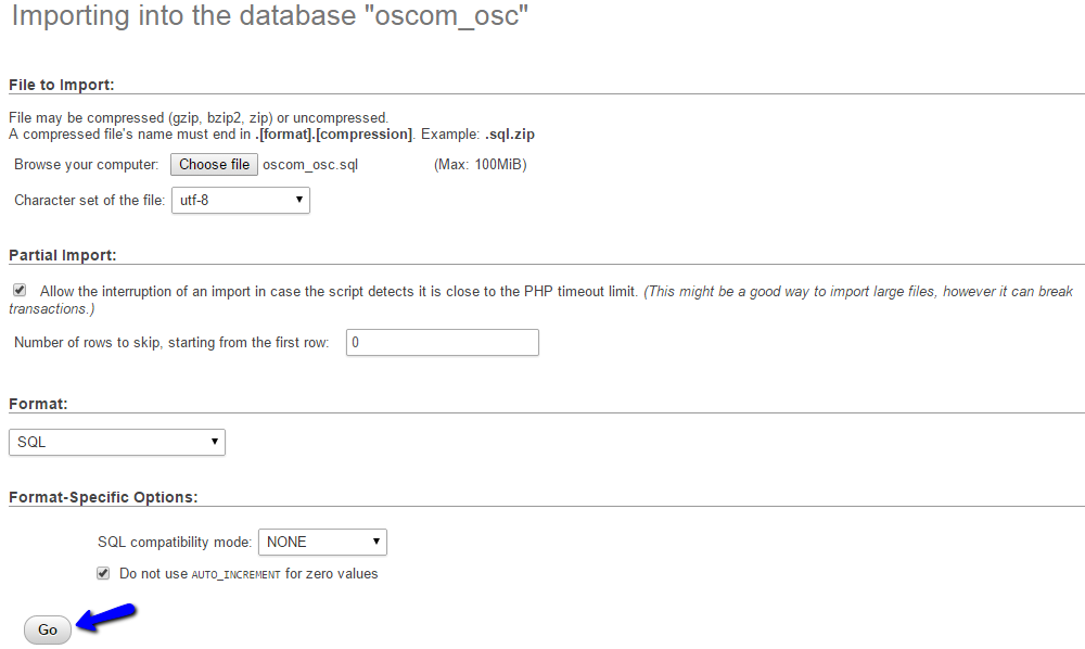 Upload osCommerce Database Backup via phpMyAdmin