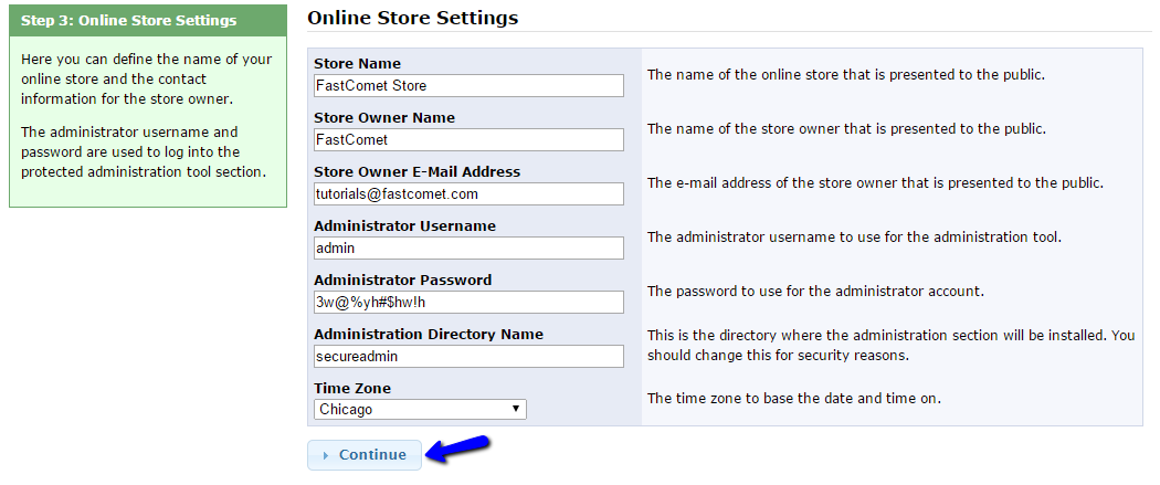 osCommerce admin account setup