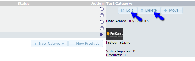Edit or Delete Product Category in osCommerce