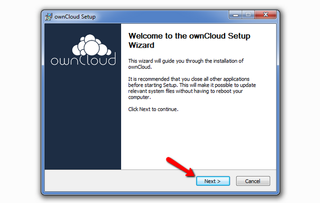 Initiating the ownCloud Desktop Client Installation