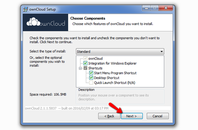 Selecing which components from ownCloud to install