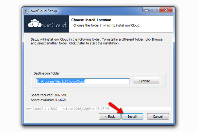 Selecting a directory in which to install ownCloud