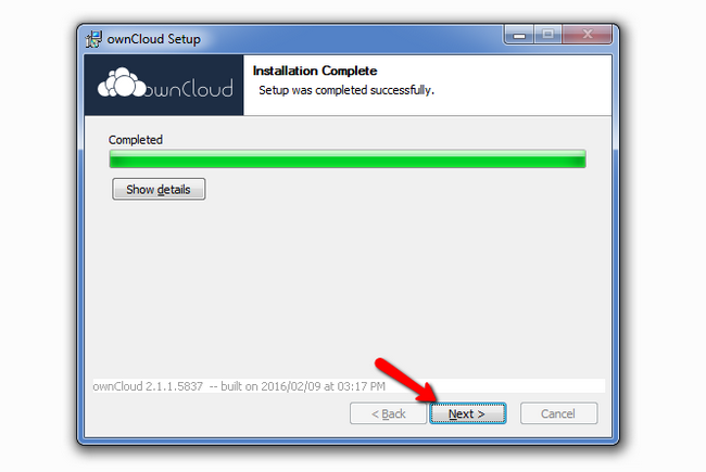 Completing the ownCloud client Installation