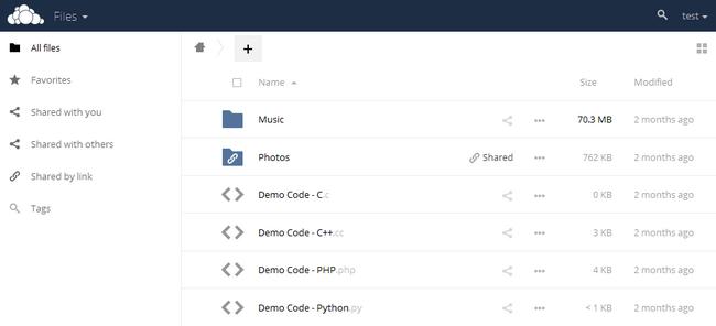 ownCloud main application screen