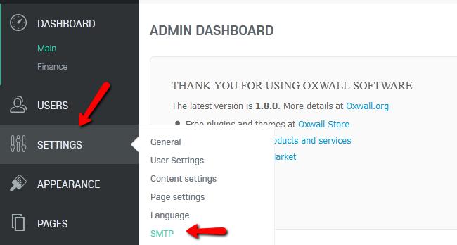 oxwall settings
