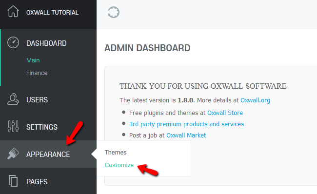 Accessing the Customize Menu in Oxwall
