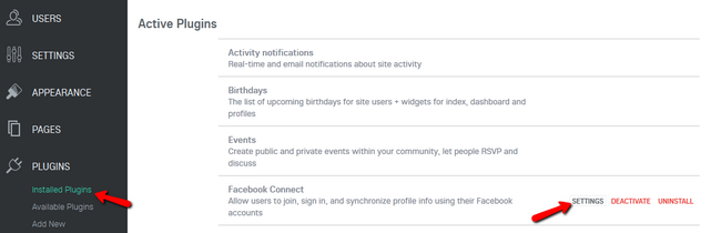 Accessing the Settings of the Facebook Connect Plugin