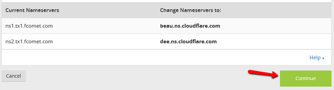Receiving the CloudFlare DNS configuration for your domain