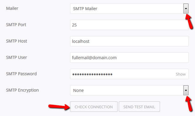 Configuring the SMTP settings in Pagekit