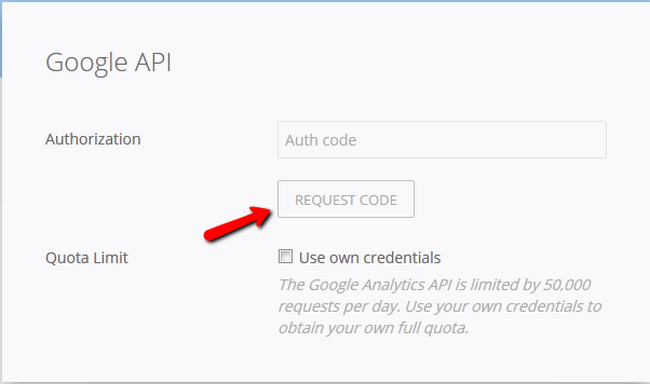 Requesting a Code for Google Analytics