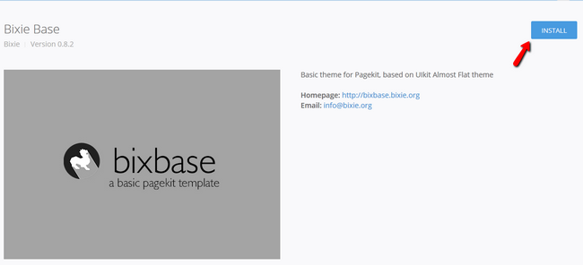 Initiating the Installation of a New Theme in Pagekit