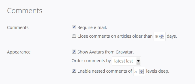 Comments Settings for your Pagekit Blog