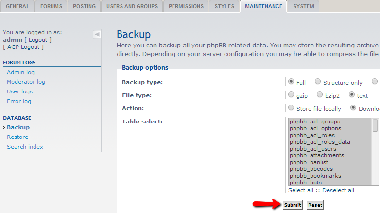 database-backup-download
